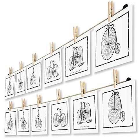 LeTOMA - Corde-photos avec pinces à linge-montage rapide et facile sur un mur pour une belle et créative décoration - 2x150 cm de corde en chanvre naturel et 2x12 crochets en bois naturel pour mettre vos photos et cartes postales dans la lumière - Couleur: