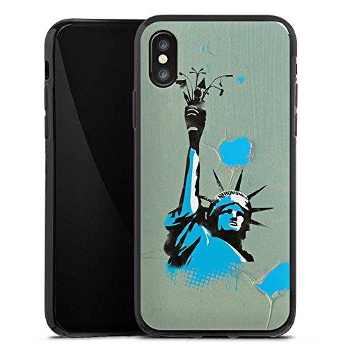 Apple iPhone X Silikon Hülle Case Schutzhülle New York Freiheitsstatue Amerika Silikon Case schwarz