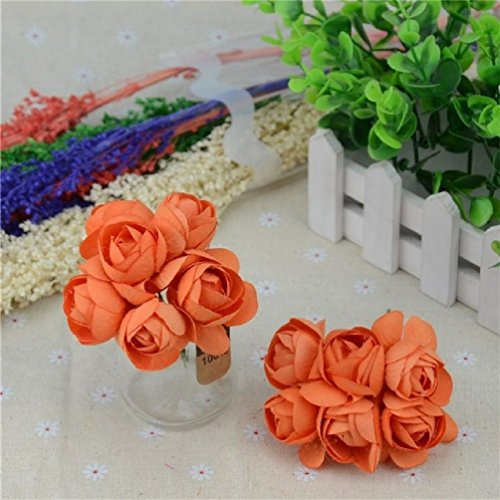 6/Lot Mini Seide Pfingstrose Blumenstrauß Rose Künstliche Blume Hochzeit Dekoration für DIY Unendlichkeit Scrapbooking Flower Ball One Size Orange