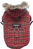 Doggy Dolly W128 Hundejacke mit Kapuze und Kunstfell, rot Kariert, Outdoor Wintermantel/Winterjacke, Größe : L