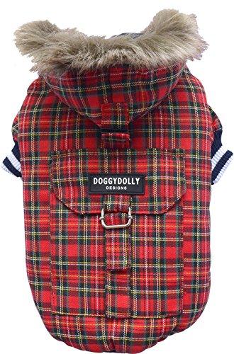 Doggy Dolly W128 Hundejacke mit Kapuze und Kunstfell, rot Kariert, Outdoor Wintermantel/Winterjacke, Größe : XS
