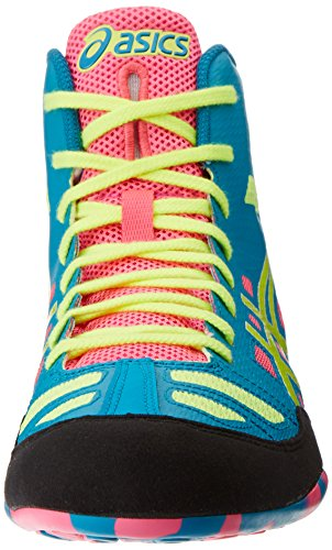 Asics Mens JB Elite Wrestling Shoe Teal/Flash Yellow/Pink