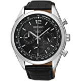 Chronograph Stainless Steel Case Black Leather Strap Black Tone Dial Date Display