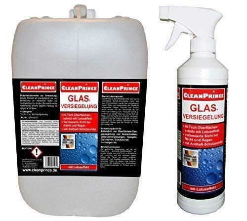 CleanPrince Glasversiegelung 2,5 Liter Glasimprägnierung Scheibenversiegelung Glas-Imprägnierung Regenabweiser Lotuseffekt Dusche Regen Rain Anti Ex Glas Autoglas Versiegelung wasserabweisend