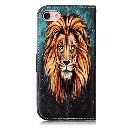 Cozy Hut iPhone 7 / iPhone 8 Leder Hülle, Vintage Geldbörse Falten Flip Case mit Kickstand und Kartensteckplätze Magnetverschluss Schutzhülle für iPhone 7 / iPhone 8 - golden Lion -