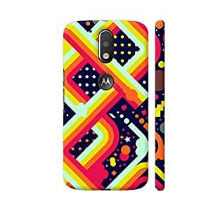 Colorpur Moto G4 Plus Logo Cut Cover - Multicolor Abstract Art Printed Back Case