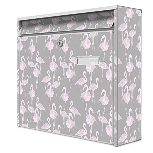 Burg Wächter Design Briefkasten | Postkasten 36 x 32 x 10cm groß | Stahl weiß verzinkt mit Namensschild | großer A4 Einwurf, 2 Schlüssel | Motiv Flamingos Blass
