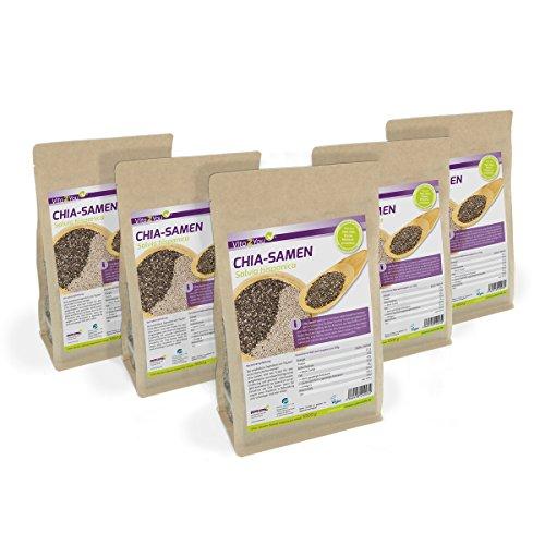 Vita2You Chia Samen - Salvia Hispanica - 5 x 1kg Zippbeutel - 5er Pack (5000g)