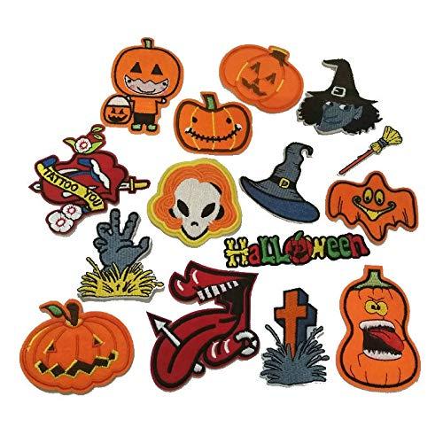 Halloween Set Patches für Kleidung Eisen auf Aufnäher PARCHES Ropa Kürbis Aufkleber für Garment Zubehör Geschenk Stickerei Patch 15Stück