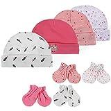 Lictin Baby Mütze Kratzhandschuhe Babyset Baby Kratzhandschuhe Kratzfäustlinge Kratzfäustel Baby Mütze und Handschuhe 4er pack mehrfarbig Größe 0 bis 6 Monate