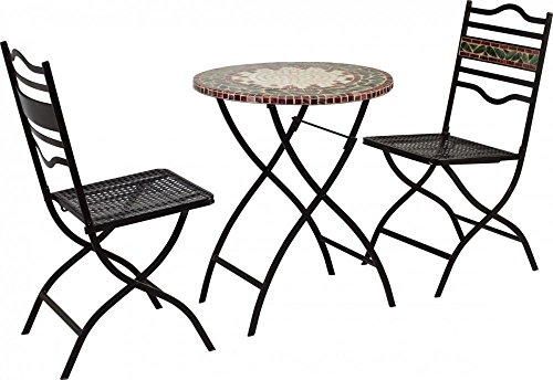 Bistromöbel Set 'Provence' 2 Gartenstuhl Sitzkissen Klapptisch rund schwarz...