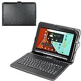 Navitech deutsche QWERTZ Tastatur / Keyboard mit Micro USB und eingebautem bycast Leder Case/ Stand in Schwarz für das Yuntab 10.1 Zoll Tablet-PC