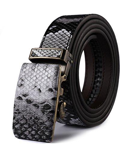 Estampado de Piel de Serpiente Cinturón con Hebilla Automática,Autolock,con Caja de Regalo