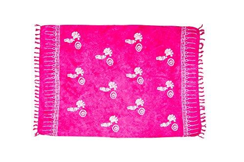 MANUMAR Damen Sarong Blickdicht | Pareo Strandtuch | Leichtes Wickeltuch in pink mit Muschel-Motiv mit Fransen/Quasten | 155x115 cm | Sauna-Handtuch | Haman-Tuch | Bikini | Bali