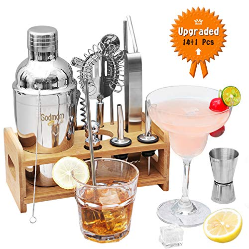 Godmorn Cocktail Set 15 Teilig, Cocktail Shaker, Cocktail Zubehör, 550 ML Cocktailshaker, Barmaß, Sieb, Eiszange, Kellnermesser, Strohhalme, Barlöffel, Ausgießer, Taschenbuch, Bar Set