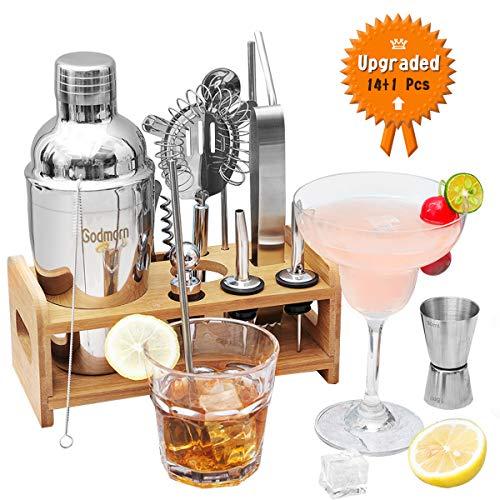 Godmorn  Cocktail-Set 14+1 Teile, 550 ml Cocktail-Set mit verbessertem Bambus-Ständer + sauberer Bürste, Cocktail-Shaker-Set, Edelstahl, Bar-Werkzeug-Set, Cocktail-Geschenk-Set mit Rezeptbuch. - Shaker Bar Set