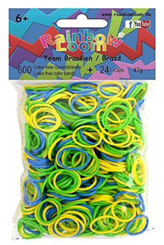 Rainbow Loom 21232 - Original Gummibänder Mix Brasilien, 600 Bänder mit 24 C - Clips - Brasilien Band