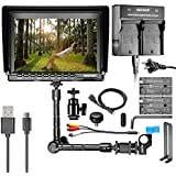 "Neewer NW759 7"" HD Camera Monitor Kit, 1280x800 IPS Screen Camera Monitor + 11"" Magic Arm + Dual Battery Charger + 2 Pack F550 Replacement Battery For Sony Canon Nikon Olympus Pentax Panasonic"