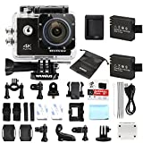 Action Cam 4K, Wimius Sport Action Camera WIFI Full HD 16MP, Fotocamera Subacquea 4k Impermeabile WebCamera 170°Grandangolare 2.0' Schermo LCD con Vari Accessori Kit Nero immagine