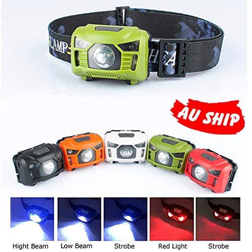 Hengyuanyi LED-Stirnlampe, helles Kopflicht, wasserdichtes Hut, wiederaufladbar, CE- und Induktions-Stirnlampe, USB, rot