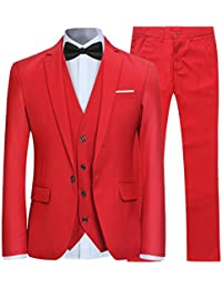 Trajes para Hombre 3 Piezas Slim Fit Boda Esmoquin Formal Un botón Cerrar Blazers  Chaqueta Chaleco c2a6543d323