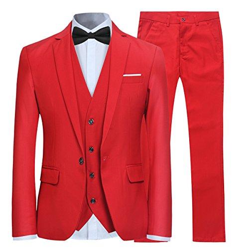 Herren 3-Teilig Slim Fit Anzug Smoking Anzugjacke Hose Weste von Allthemen Rot Large