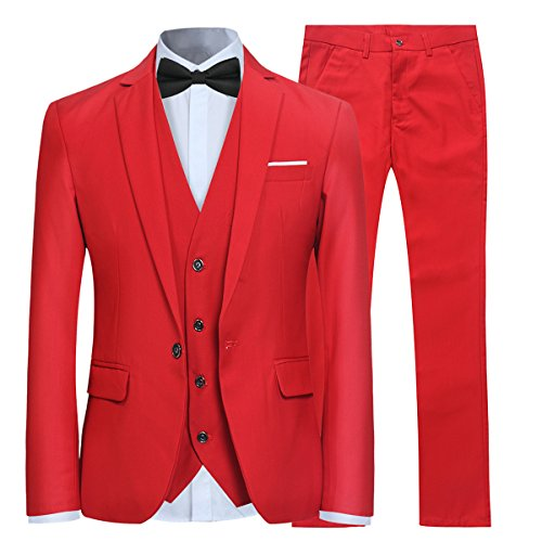 Allthemen Herren 3-Teilig Slim Fit Anzug Smoking Anzugjacke Hose Weste Rot X-Large