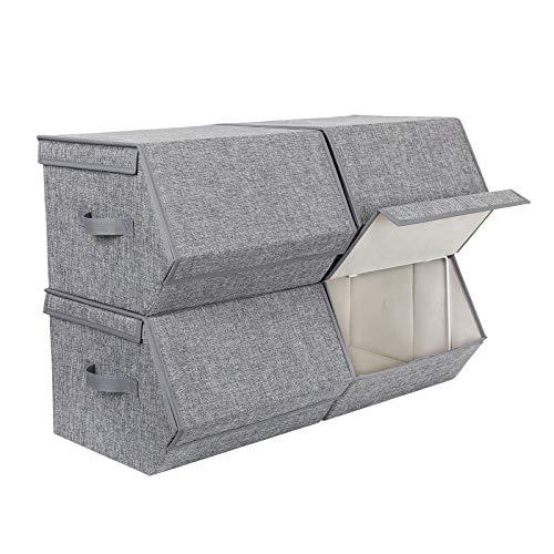Songmics set di 4 contenitori impilabili, scatole di tessuto con struttura di metallo, coperchio magnetico e manici laterali, per accessori, giocattoli, vestiti, grigio, rlb04gy