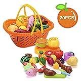 Shinehalo Alimentos Cocina Juguetes de Cocina Endurable Colorido Juego de Cocina de Corte Vivo de Juguetes cocinitas Accesorios (20 Piezas con Cesta)