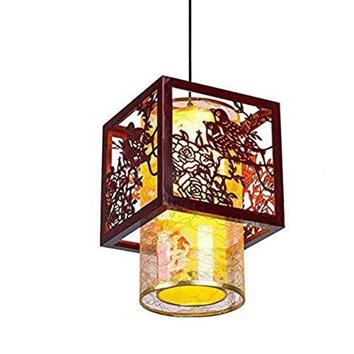 CL-C Lampe pendante en Bois de Style Chinois Classique Lumineuse pendante de Salle à Manger Vintage avec penderie de thé (Hall: Balcon) (Taille: 25 * 80 cm)