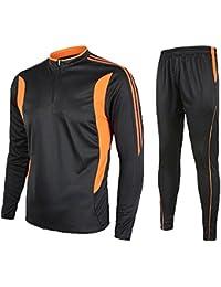 Zicac Ensemble Maillot de Football Manches Longues +Pantalon Entraînement Survêtement Homme