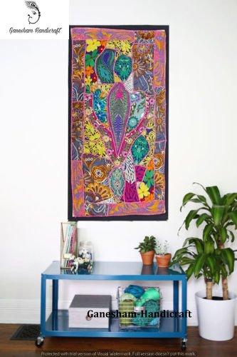 Indian Hand bestickt Ethnic antik Deko Wall Art Decor, Kopfteil Gobelin, Tischläufer, Tapisserie, Patchwork Vintage Baumwolle Wandbehang Gobelin