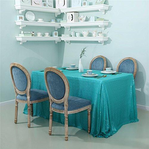 Zdada Hochzeit Pailletten-Tischdecke Sparkly Tischauflage für Party, Tiffany Blue, 60
