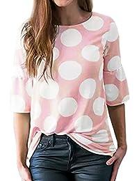 QinMM Camiseta con Manga de Lunares para Mujer, Verano Tops Blusa Camisas