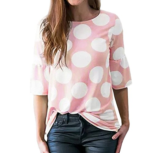 QinMM Camiseta con Manga de Lunares para Mujer, Verano Tops Blusa Camisas (Rosa, L)