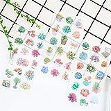 Leisial 6 Seiten Grünpflanzen Blätter Blumen Aufkleber Selbstklebende Aufkleber Karikatur Umschlag Siegelaufkleber DIY Sticker