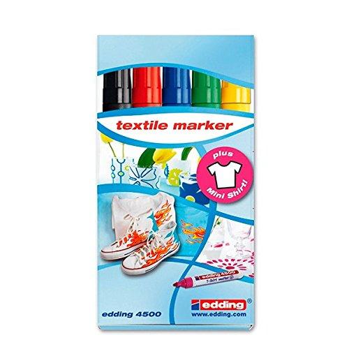 Edding 4500 Textil Set - Pack de 5 rotuladores, Especiales para ropa