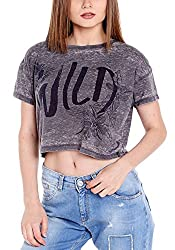 Spykar Womens Cotton Black Regular Fit Tshirts (Large)