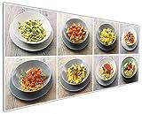 Wallario Küchen-Rückwand | Glas mit Motiv Italienische Pasta in Premium-Qualität: Brillante Farben, ohne Aufhängung | geeignet zum Verkleben |Spritzschutz Küche Herd Spüle | abwischbar | pflegeleicht