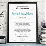 MANN / FREUND / EHEMANN DES JAHRES als Urkunde Auszeichnung und Danksagung - liebevolle und persönliche Geschenkidee zum Geburtstag, Jahrestag oder Hochzeitstag- Rahmen optional zubuchbar