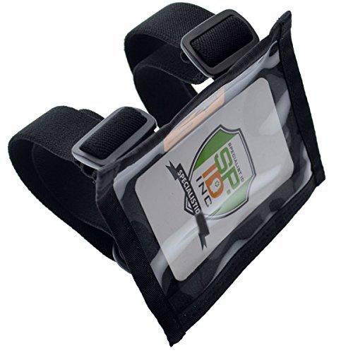 Specialist ID Armband mit Stützplatte - Kartenhalter aus strapazierfähigem Nylon mit zwei verstellbaren elastischen Bändern - hergestellt in den USA Schwarz -