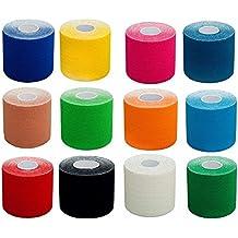 2,5cm / 5cm / 7,5cm & 10cm breites PREMIUM Kinesiologie Tape (Stückzahl 1x, 3x, 6x und 12x), elastische Qualitäts-Bandage für Sport, Freizeit, Physiotherapie und Medizin. 100% gewebte Baumwolle, wasserresistent, neue Klebeformel für besseren Halt in Extremsituationen. Von Physiotherapeuten empfohlen. TÜV zertifizierte Markenqualität! In vielen Farben und Größen! Rollenlänge 5m.