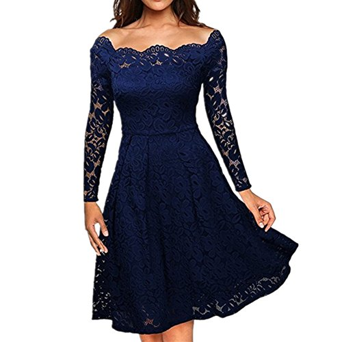 BOMOVO Damen Vintage 1950er Off Schulter Cocktailkleid Retro Spitzenkleider Schwingen Pinup Rockabilly Kleid Navy Blau