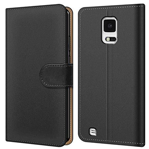Conie BW32467 Basic Wallet Kompatibel mit Samsung Galaxy Note Edge, Booklet PU Leder Hülle Tasche mit Kartenfächer und Aufstellfunktion für Galaxy Note Edge Case Schwarz