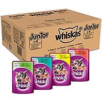 Whiskas Katzenfutter Junior, Hochwertiges Nassfutter für gesundes Fell, Feuchtfutter in verschiedenen Geschmacksrichtungen