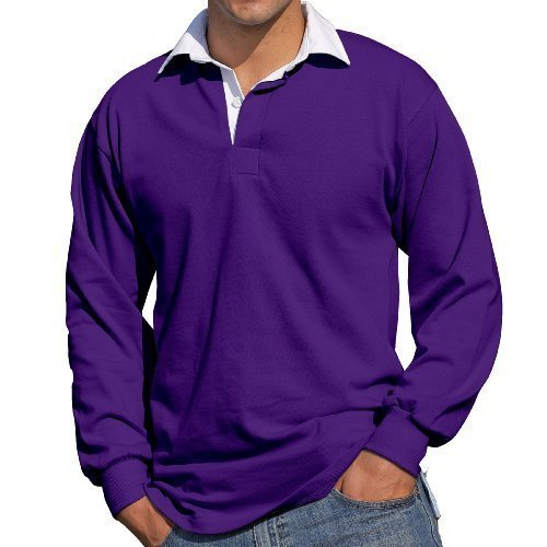 Front Row - Langarm Rugby Shirt - Lila, XXL / 119.4-124.5cm (Rugby 122)