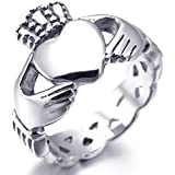 MunkiMix Stainless Steel Ring Silver Irish Celtic Knot Irish Claddagh Friendship Love Heart Royal King Crown Polished Women,Men