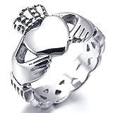MunkiMix Edelstahl Ring Silber Ton Irish Celtic Knot Irischen Keltisch Knoten Iren Claddagh Freundschaft Liebe Herz Königliche König Krone Größe 52 (16.6)