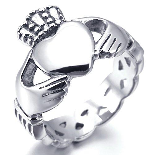 MunkiMix Edelstahl Ring Silber Ton Irish Celtic Knot Irischen Keltisch Knoten Iren Claddagh Freundschaft Liebe Herz Königliche König Krone Größe 62 (19.7) (Irische Claddagh Ringe)