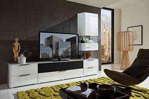 4-tlg. Wohnwand in Hochglanz weiß/grau mit Akustik-Fächern und LED-Beleuchtung, Gesamtmaß B/T ca. 300/51 cm